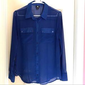 Rock & Republic Long Sleeve Blue Blouse Size M